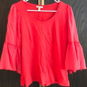 Anthropologie Bordeaux Red Ruffle Blouse